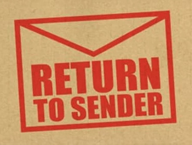 """Drawing of envelope with text reading """"Return To Sender"""""""