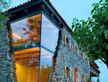 Side view of angular modern Oakville home