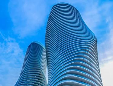 Tall curvaceous condominiums in Mississauga, Ontario